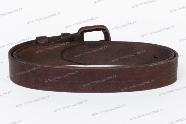 Православный кожаный ремень с молитвой ширина 35 мм артикул 11
