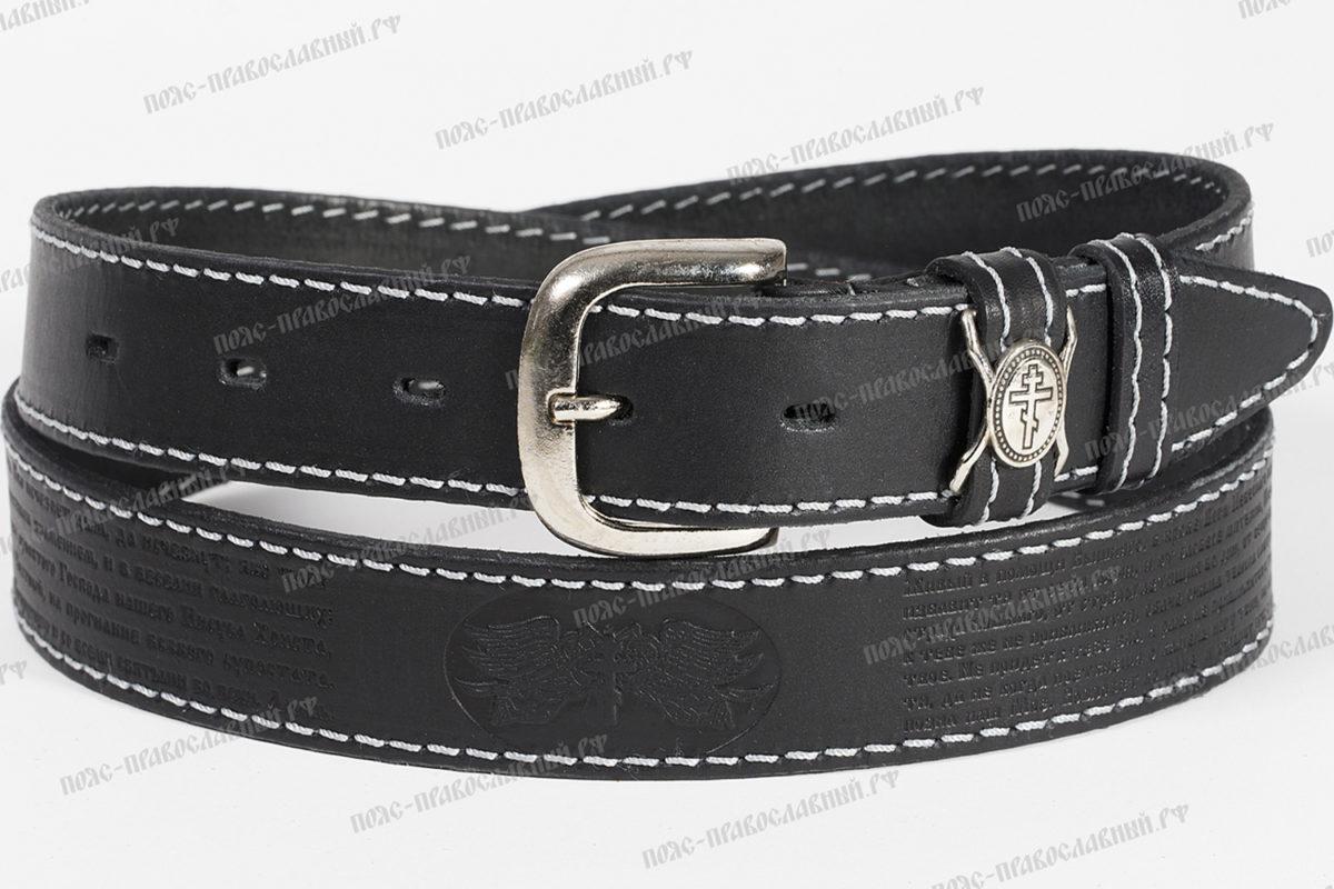 артикул 32, кожаный ремень, ширина 35 мм, прошитый, чёрный