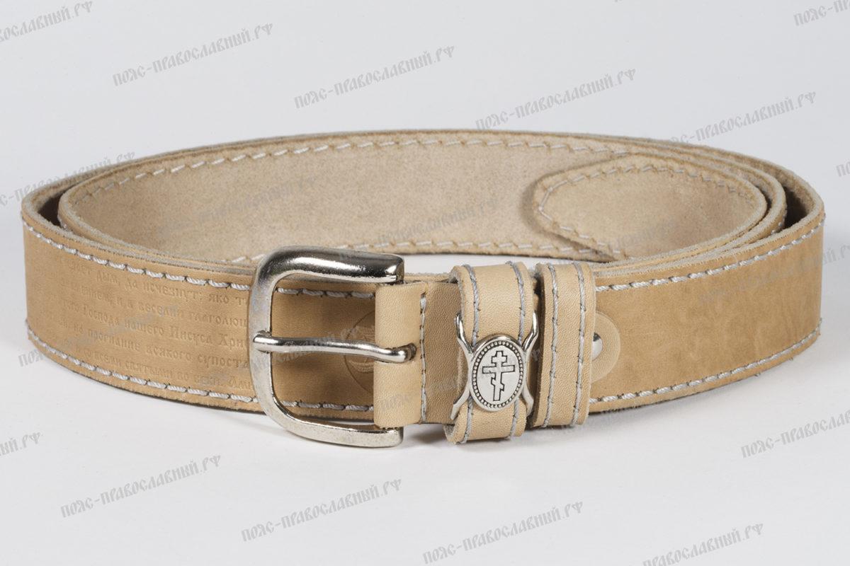 Артикул 57, ширина 35/40 мм, комплект из 2-х кожаных ремней, прошитые, цвет чёрно-бежевый